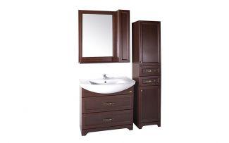 Комплект мебели для ванной Берта 85 со шкафчиком Антикварный орех