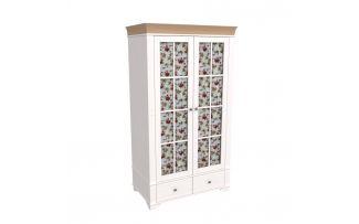Шкаф 2х дверный со стеклянными дверями Бейли белый воск-антик