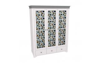 Шкаф 3х дверный со стеклянными дверями Бейли белый воск-антрацит