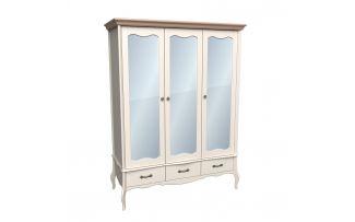 Шкаф 3х дверный с зеркальными дверями Лебо (бежевый воск-антик)