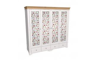 Шкаф 4х дверный со стеклянными дверями Бейли белый воск-антик