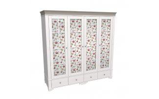 Шкаф 4х дверный со стеклянными дверями Бейли белый воск-антрацит