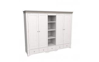 Шкаф 5 дверный с 4 глухими дверями и полками Бейли белый воск-антрацит