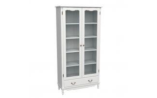 Шкаф для книг широкий с ящиком Верден белый воск
