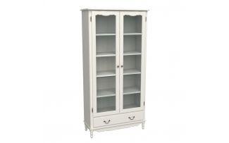 Шкаф для книг широкий с ящиком Верден слоновая кость воск