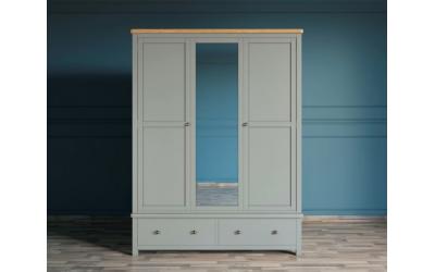 Шкаф широкий с зеркалом Jules Verne серый