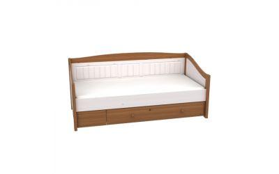 Кровать-диван Милано с выкатным ящиком (белый воск-антик) ящик антик