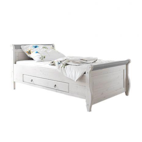 Кровать Мальта 100 с ящиками (серый)