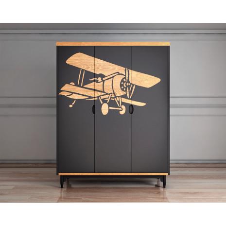 Шкаф трехстворчатый с самолетом Travel