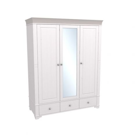 Шкаф 3х дверный с зеркалом Бейли белый воск-антрацит