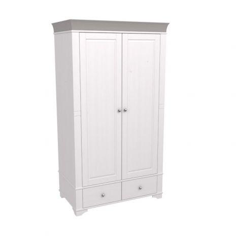Шкаф 2х дверный Бейли белый воск-антрацит
