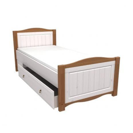 Кровать Милано с выкатным ящиком (белый воск-антик)