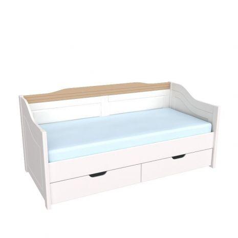 Кровать-диван Бейли с выдвижными ящиками белый воск-антик