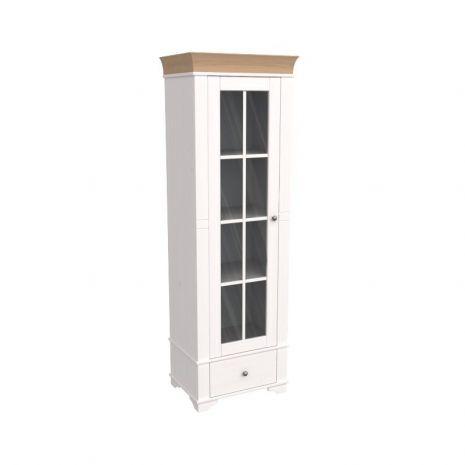 Витрина Бейли со стеклянной дверью белый воск-антик