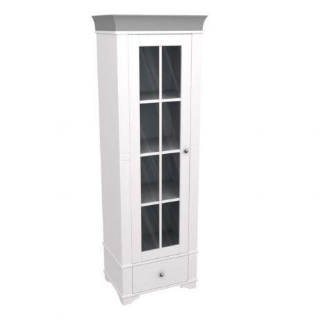 Витрина Бейли со стеклянной дверью белый воск-антрацит