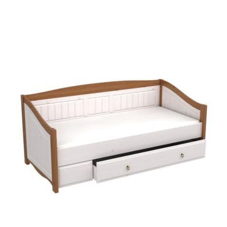 Кровать-диван Милано с выкатным ящиком (белый воск-антик)