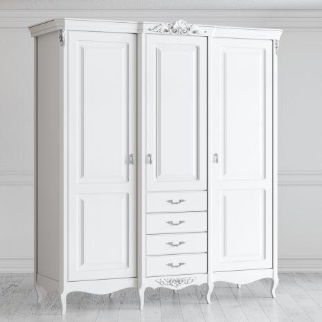 Шкаф 3 двери с ящиками Silvery Rome