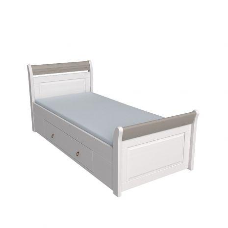 Кровать Бейли с выдвижными ящиками белый воск-антрацит