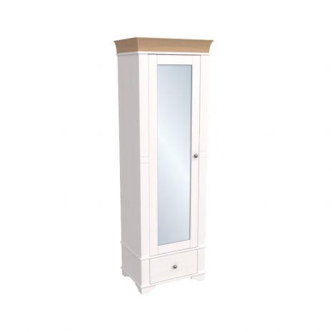 Шкаф 1-дверный с зеркалом Бейли белый воск-антик
