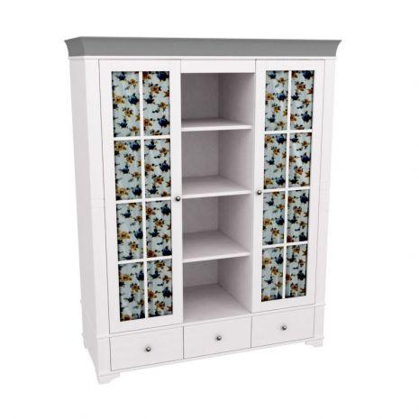 Шкаф с 2-мя стеклянными дверями и полками Бейли белый воск-антрацит