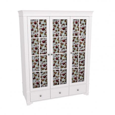 Шкаф 3х дверный со стеклянными дверями Бейли