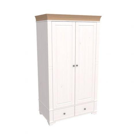 Шкаф 2х дверный Бейли белый воск-антик