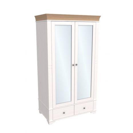 Шкаф 2х дверный с зеркальными дверями Бейли белый воск-антик