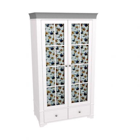 Шкаф 2х дверный со стеклянными дверями Бейли белый воск-антрацит
