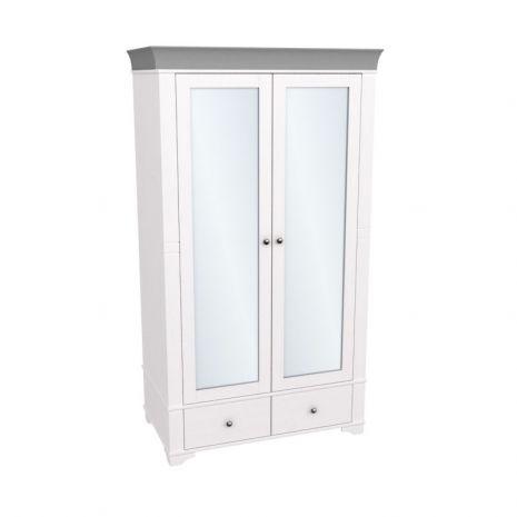 Шкаф 2х дверный с зеркальными дверями Бейли белый воск-антрацит