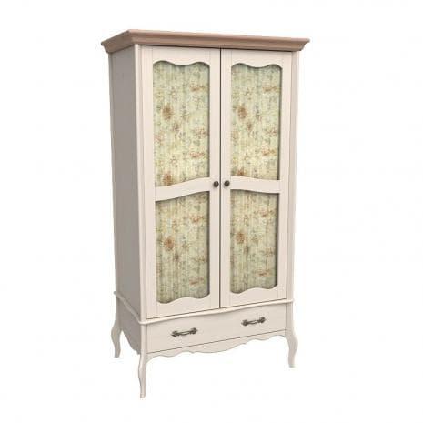 Шкаф 2х дверный Лебо со стеклянными дверями (бежевый воск-антик)