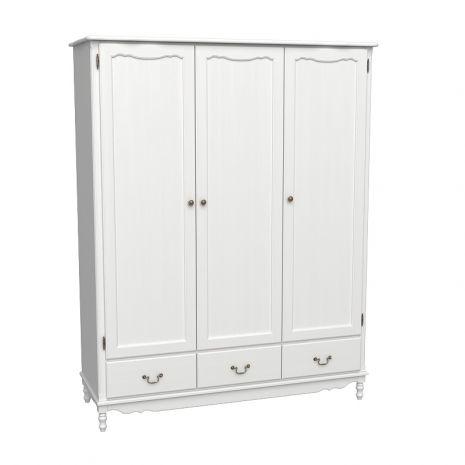 Шкаф 3х дверный Верден с глухими дверями белый воск