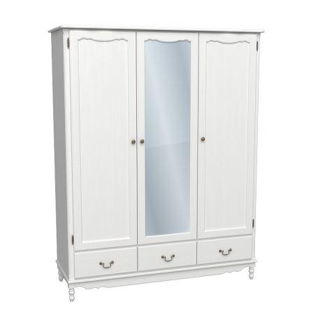 Шкаф 3х дверный Верден с зеркалом белый воск