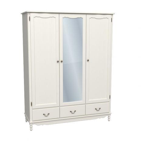 Шкаф 3х дверный Верден с зеркалом слоновая кость воск