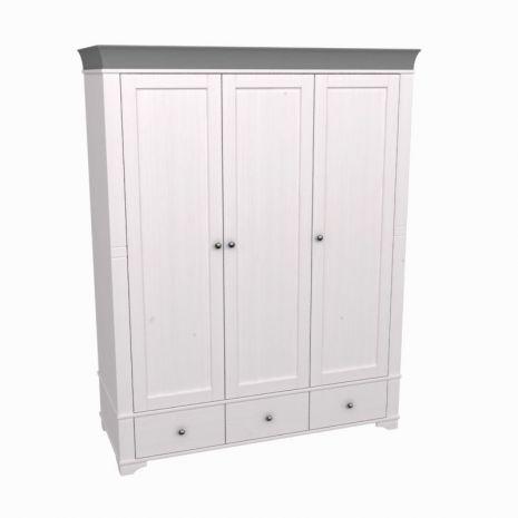 Шкаф 3х дверный с глухими дверями Бейли белый воск-антрацит