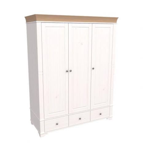 Шкаф 3х дверный с глухими дверями Бейли белый воск-антик