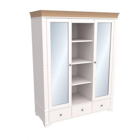 Шкаф с 2-мя зеркальными дверями и полками Бейли белый воск-антик