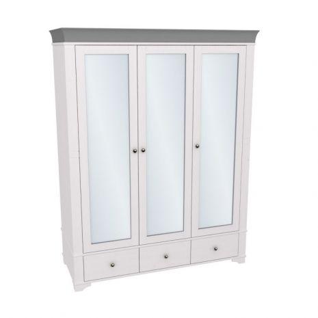 Шкаф 3х дверный с зеркальными дверями Бейли белый воск-антрацит