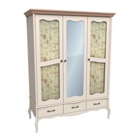 Шкаф 3х дверный с двумя стеклянными дверями и зеркалом Лебо (бежевый воск-антик)