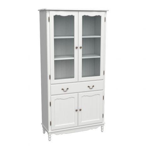 Шкаф для книг широкий с дверцами и ящиком Верден белый воск