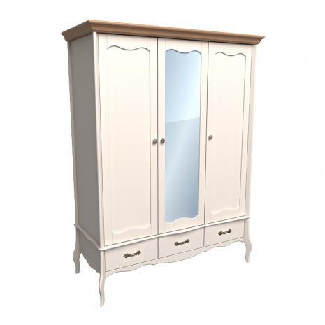 Шкаф 3х дверный с зеркалом Лебо (бежевый воск-антик)