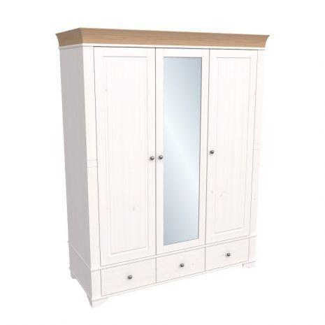 Шкаф 3х дверный с зеркалом Бейли белый воск-антик