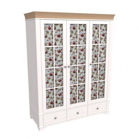 Шкаф 3х дверный со стеклянными дверями Бейли белый воск-антик