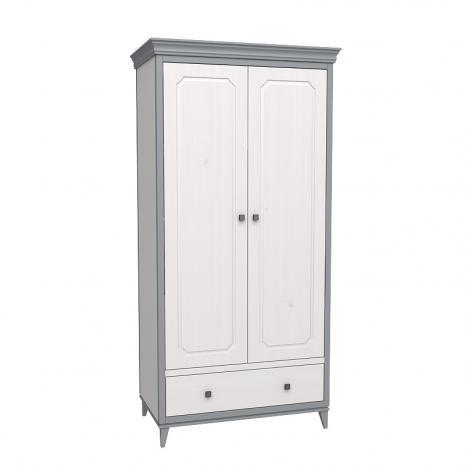Шкаф 2х дверный София белый лак/серый лак