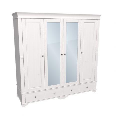 Шкаф 4х дверный с 2 зеркальными и 2 глухими дверями Бейли