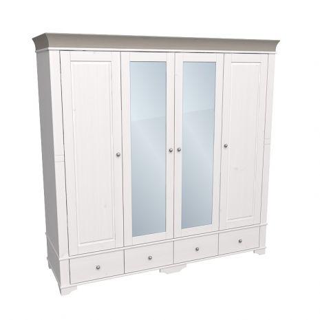 Шкаф 4х дверный с 2 зеркальными и 2 глухими дверями Бейли белый воск-антрацит