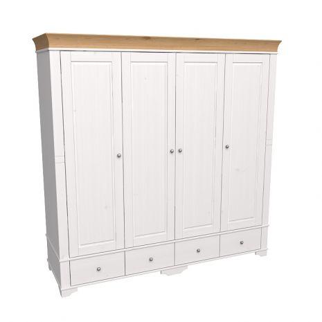 Шкаф 4х дверный с глухими дверями Бейли белый воск-антик