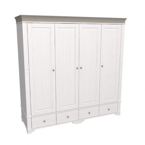 Шкаф 4х дверный с глухими дверями Бейли белый воск-антрацит