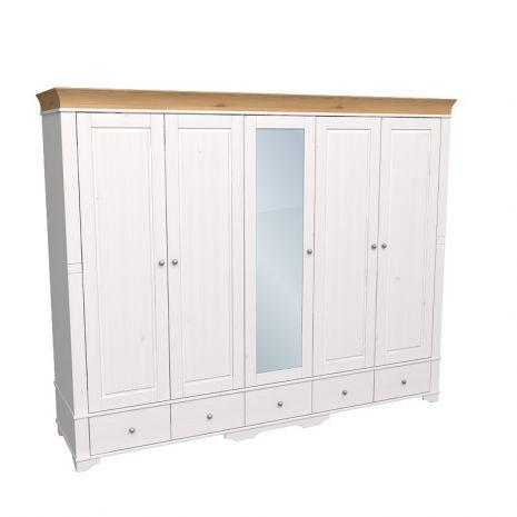 Шкаф 5 дверный с 4 глухими дверями и 1 зеркальной дверью Бейли белый воск-антик