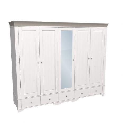 Шкаф 5 дверный с 4 глухими дверями и 1 зеркальной дверью Бейли белый воск-антрацит
