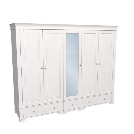 Шкаф 5 дверный с 4 глухими дверями и 1 зеркальной дверью Бейли